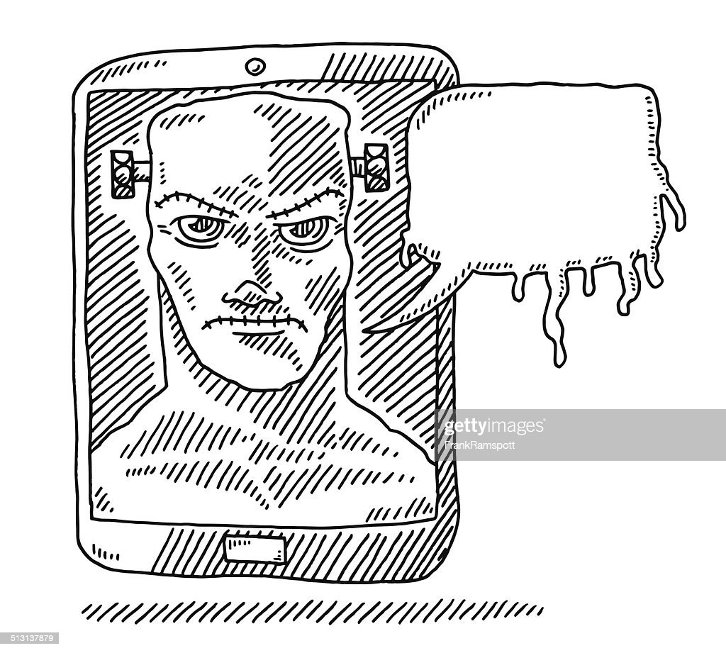 Scary Halloween Monster Smart Phone Drawing High Res Vector Graphic Getty Images
