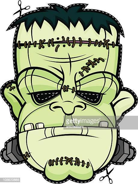 ilustrações de stock, clip art, desenhos animados e ícones de máscara assustadora frankenstein dia das bruxas cabeça monstro rosto - frankenstein