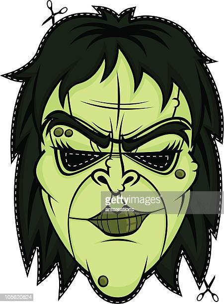 ilustraciones, imágenes clip art, dibujos animados e iconos de stock de bruja halloween scary máscara de cara monster - bruja