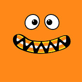 Scary monster face emotions. Vampire tooth fang. Big eyes, mouth with candy corn teeth. Happy Halloween. Baby Greeting card. Flat design style . Orange background.