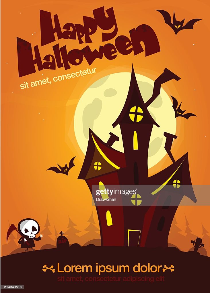 Scary Old Ghost Haunted House Halloween Card Or Poster Vector Art