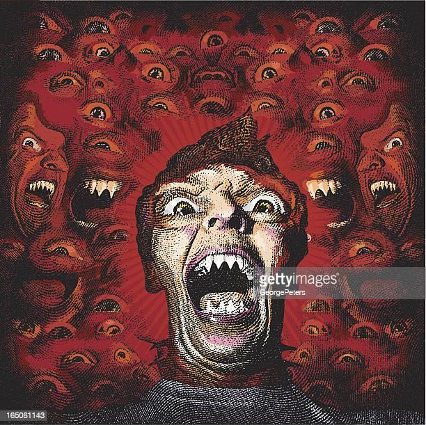 ilustraciones, imágenes clip art, dibujos animados e iconos de stock de scary retrato de hombre con dientes sharp - vampiro