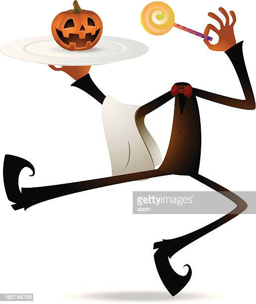 scary pumpkin jack o' lantern chef holding plate and lollipop - entusiástico stock illustrations
