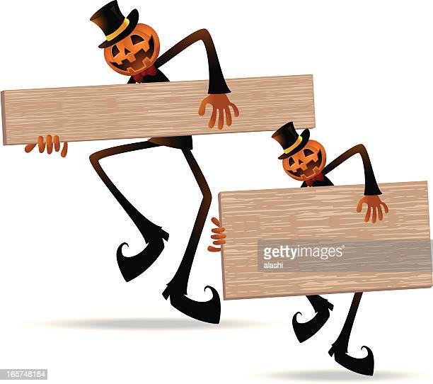 scary pumpkin jack o' lantern holding blank sign - entusiástico stock illustrations