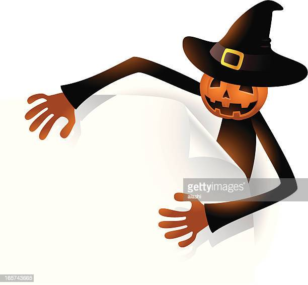 scary pumpkin jack o' lantern holding white blank sign - entusiástico stock illustrations