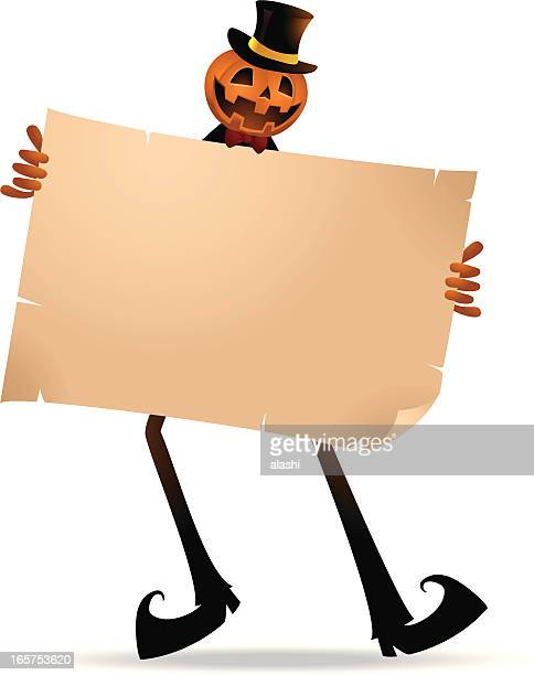 scary pumpkin jack o' lantern with brown paper - entusiástico stock illustrations