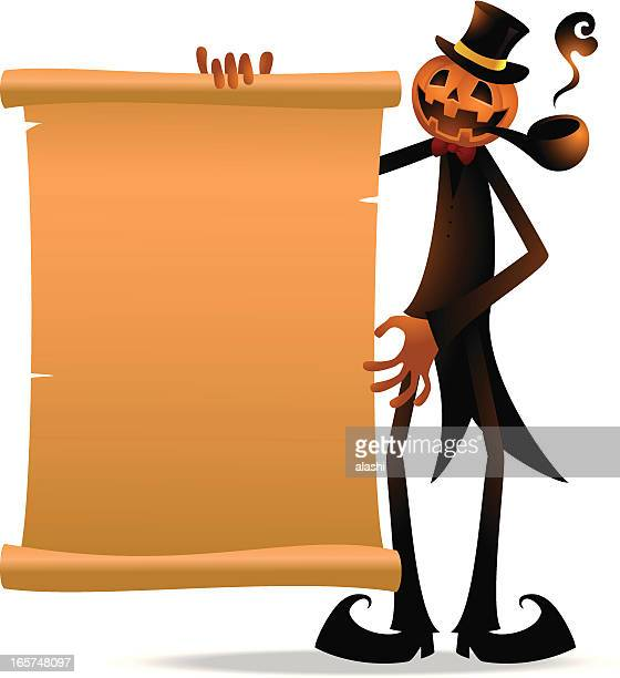 scary pumpkin jack o' lantern with paper and pipe - anthropomorphic foods stock illustrations, clip art, cartoons, & icons