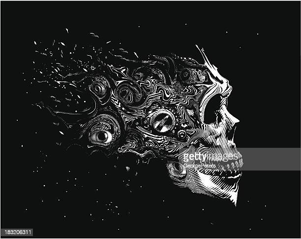 scary space skull - apokalypse stock-grafiken, -clipart, -cartoons und -symbole