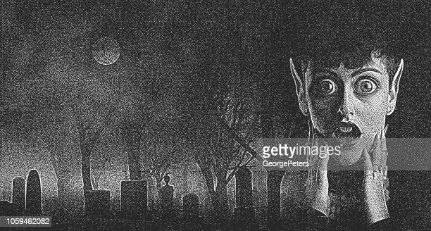 scary woman monster with shocked expression in spooky cemetery - magic eye stock illustrations
