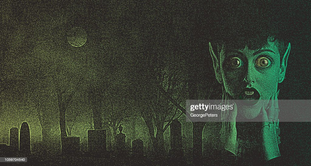 Scary woman monster with shocked expression in spooky cemetery : stock illustration