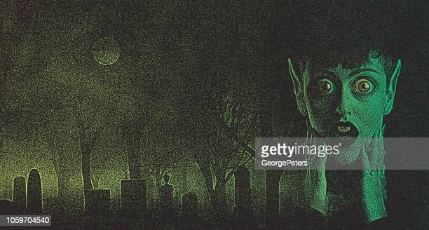 scary woman monster with shocked expression in spooky cemetery - zombie stock illustrations, clip art, cartoons, & icons
