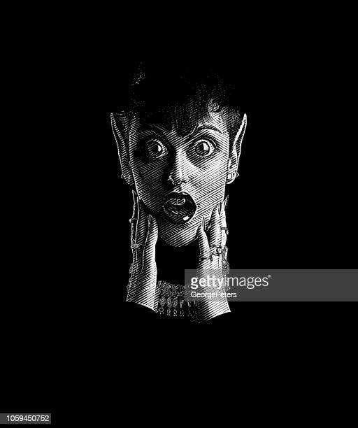 Eng vrouw Monster met doodsbang gelaatsuitdrukking