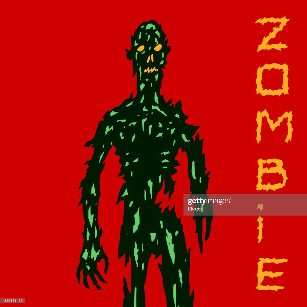 Scary zombie coming for you. Vector illustration.