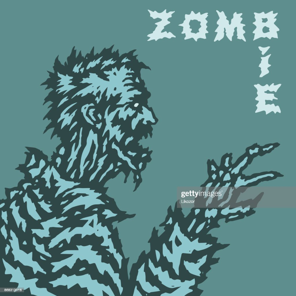 Scary zombie looks at her wizened hands and howls wildly. Vector illustration.