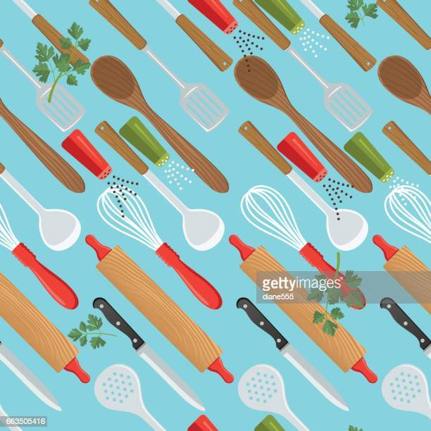 scattered cooking utensils seamless pattern - kitchenware department stock illustrations, clip art, cartoons, & icons