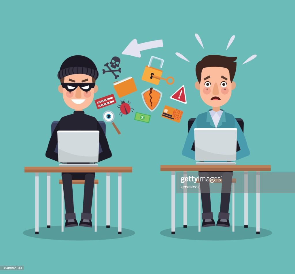 scene color thief hacker and programmer man in desk with laptops preventing attack