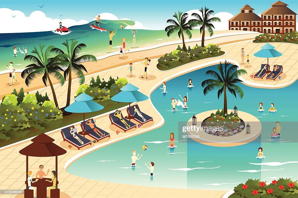 Scene in a tropical resort