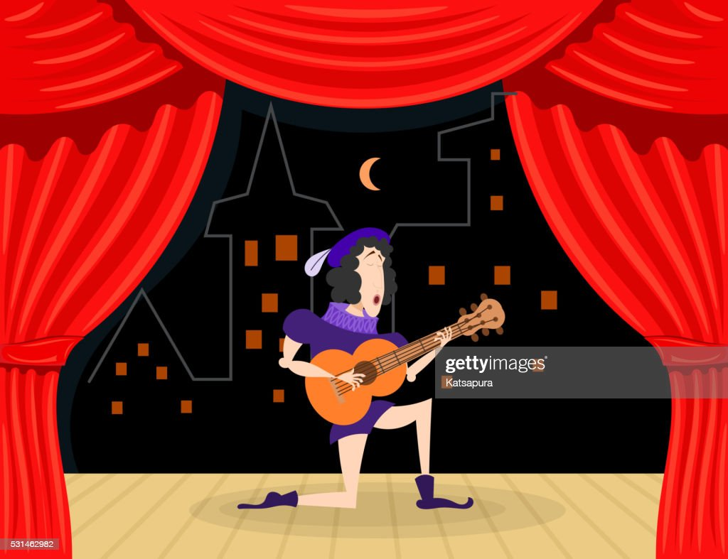 Scene performance with singer serenades.Cartoon theater.Stock vector