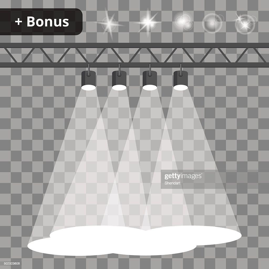 Scene with four projectors, spotlights on a transparent background. bonus