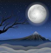 Scene with mountain on fullmoon night