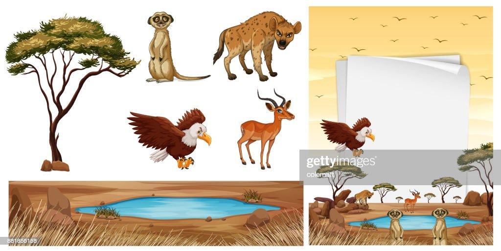 Scene with wild animals in the savanna