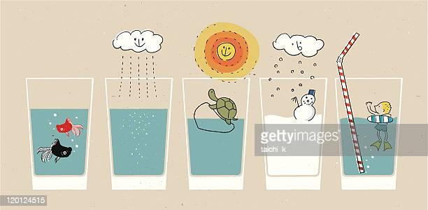 Scenery in glass