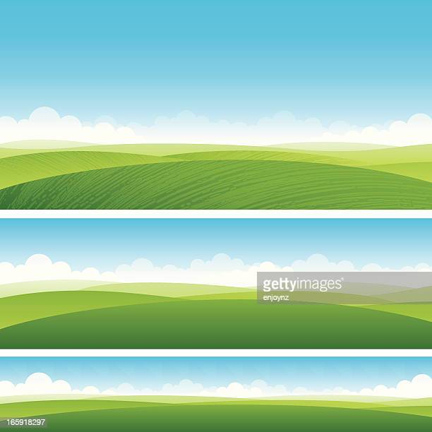 scenic fields background - rolling landscape stock illustrations