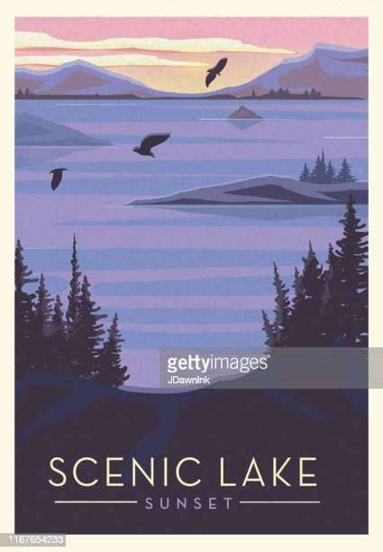 scenic lake with birds and sun setting scenic poster design with text - lake stock illustrations