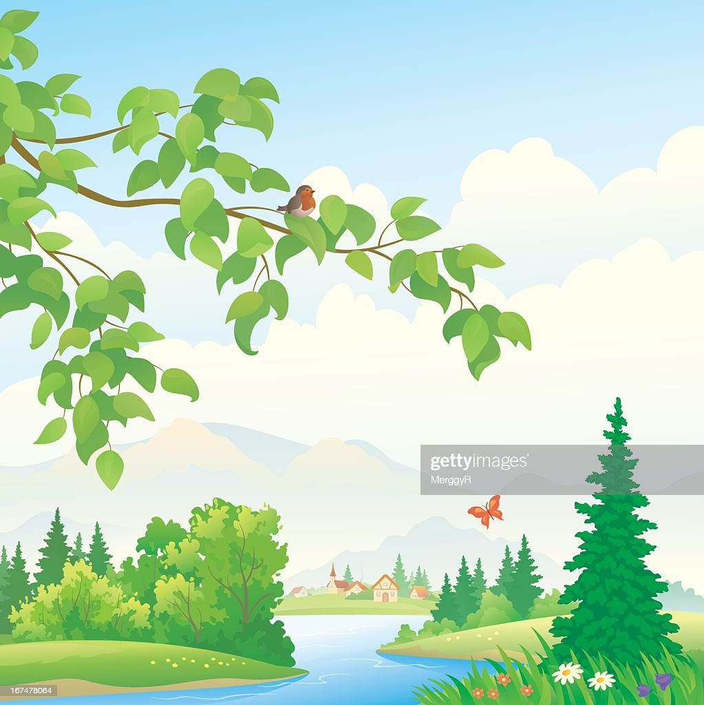 Scenic mountain illustration with water