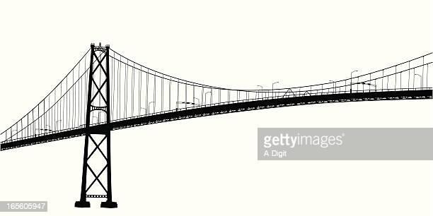 ilustraciones, imágenes clip art, dibujos animados e iconos de stock de scenicvancouver - puente colgante