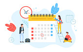 Schedule, appointment, planning. Clock and calendar with marked date and group of people with pencil, laptop and briefcase. Time management, agenda, business event concepts. Modern flat design. Vector illustration