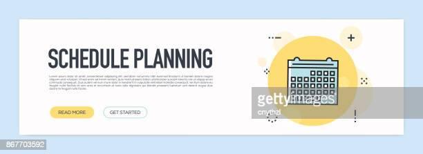 Planen Sie Planung Konzept - flache Linie Web-Banner