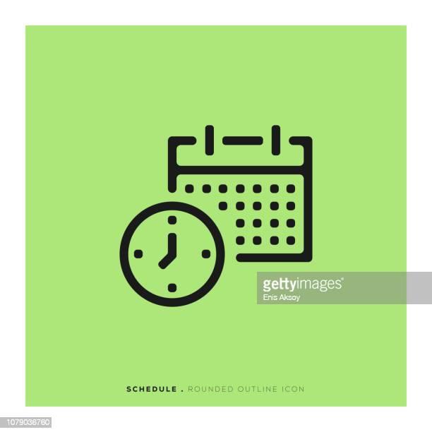 schedule rounded line icon - organização stock illustrations