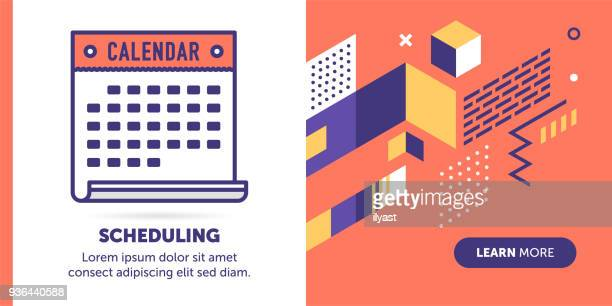 scheduling banner - routine stock illustrations