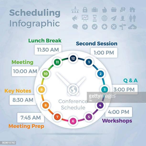 ilustrações de stock, clip art, desenhos animados e ícones de infográfico conceito de programação - ver a hora