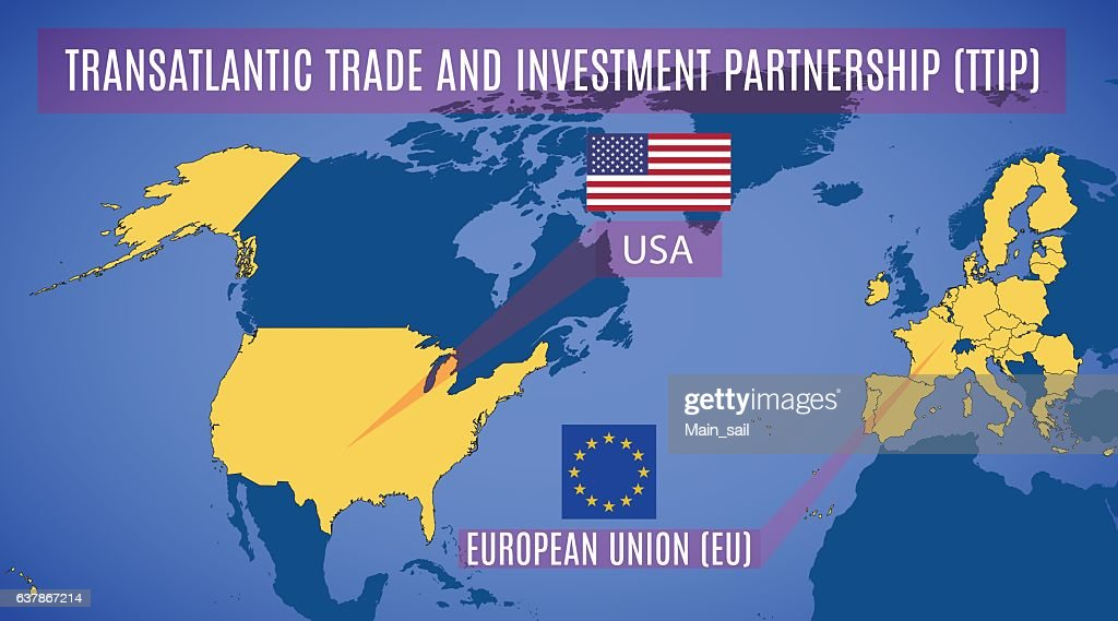 Schematic map of the Transatlantic Trade and Investment Partners
