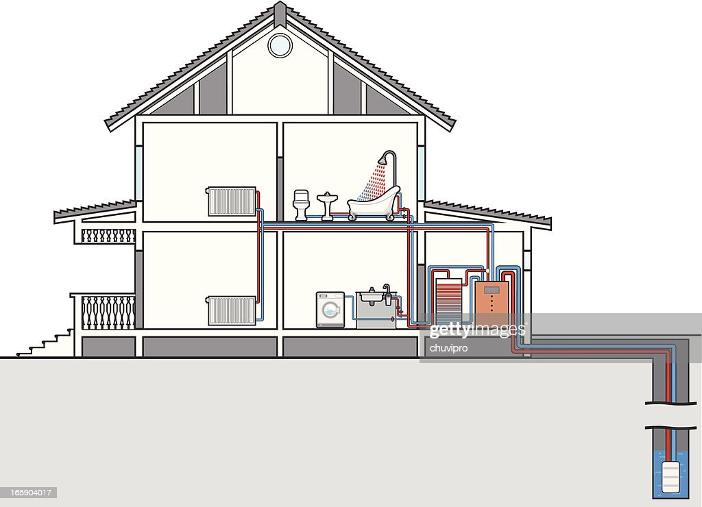 Scheme Of Heating And Water Heat Pump. Cutaway Of House : Vector Art