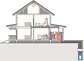 Scheme of heating and water heat pump. Cutaway of house
