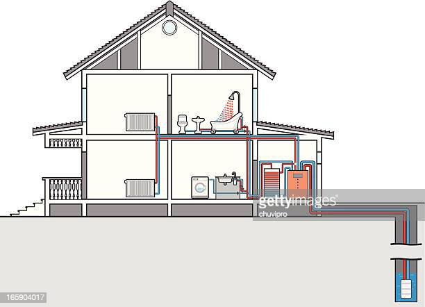 scheme of heating and water heat pump. cutaway of house - boiler stock illustrations, clip art, cartoons, & icons