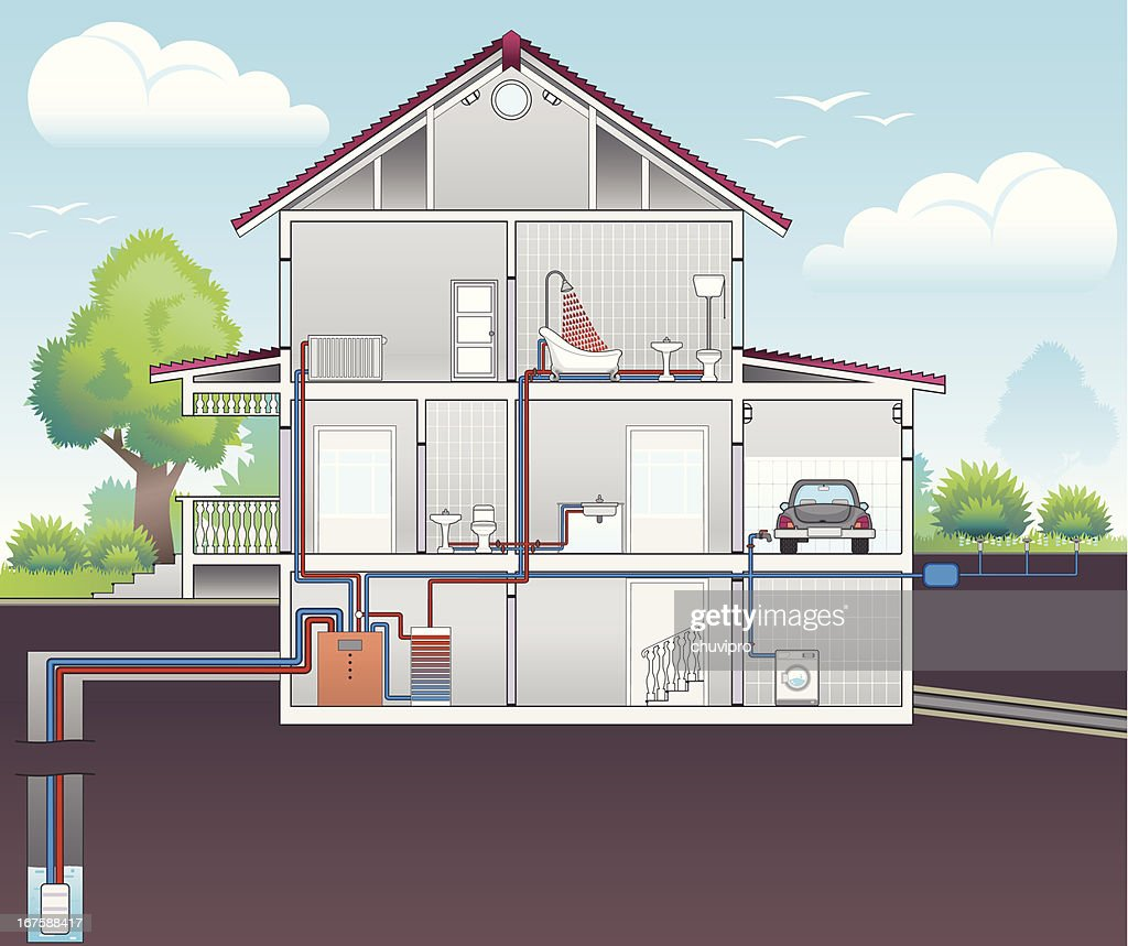 Scheme of heating and water heat : stock illustration