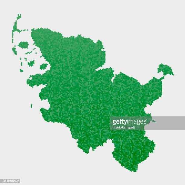 Schleswig Holstein German State Map Green Hexagon Pattern