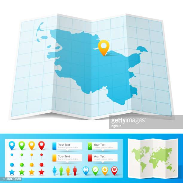 schleswig-holstein map with location pins isolated on white background - schleswig holstein stock illustrations