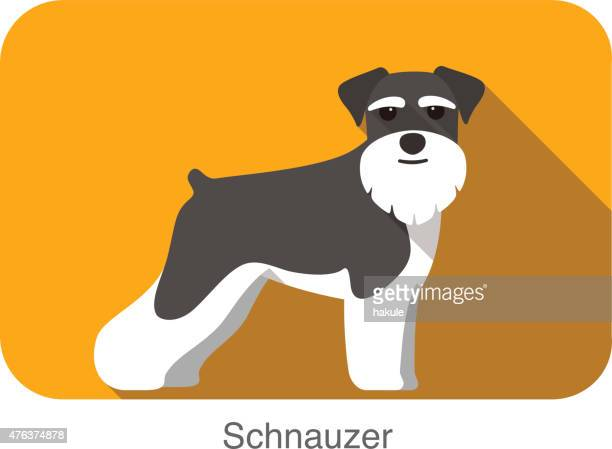 Schnauzer, dog standing flat icon design