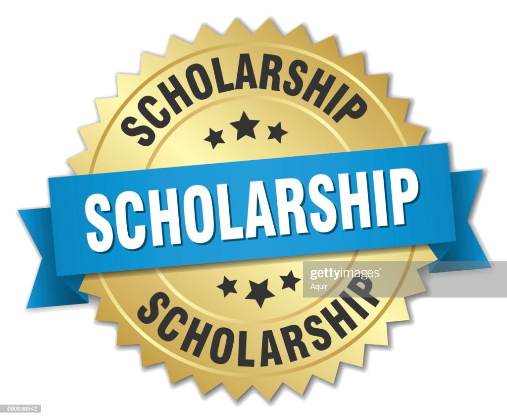 scholarship 3d gold badge with blue ribbon