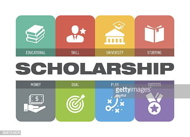 scholarship icon set - sponsor stock illustrations