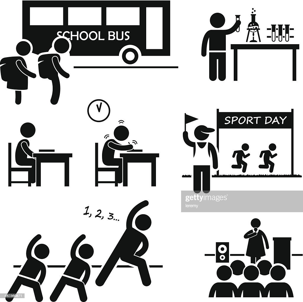School Activity Event Student Stick Figure Pictogram Icon Clipart