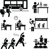 School Activity Event Student Stick Figure Pictogram Icon Clipart