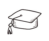 School and college objects - Academic hat. Vector doodle illustration in eps10