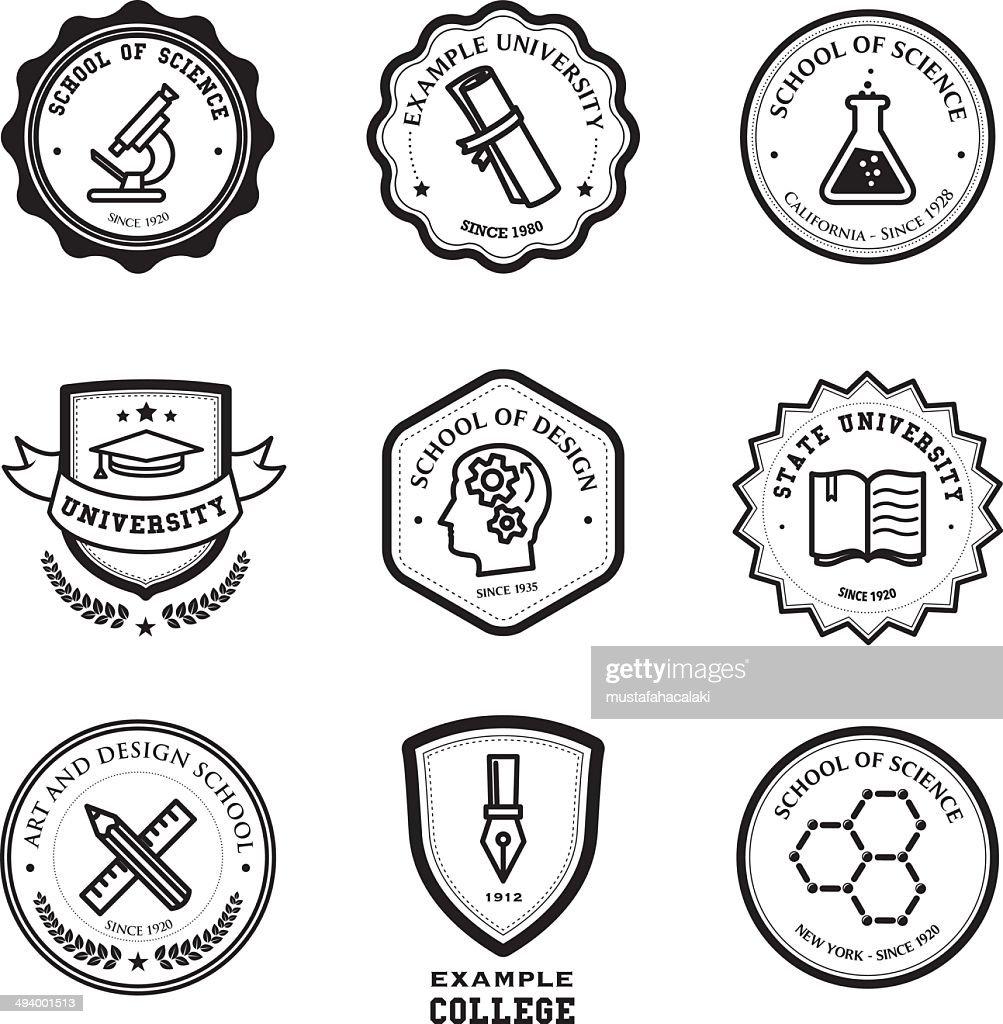 School and education badges : stock illustration