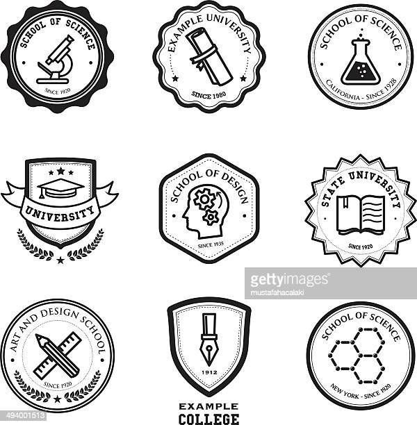 school and education badges - insignia stock illustrations